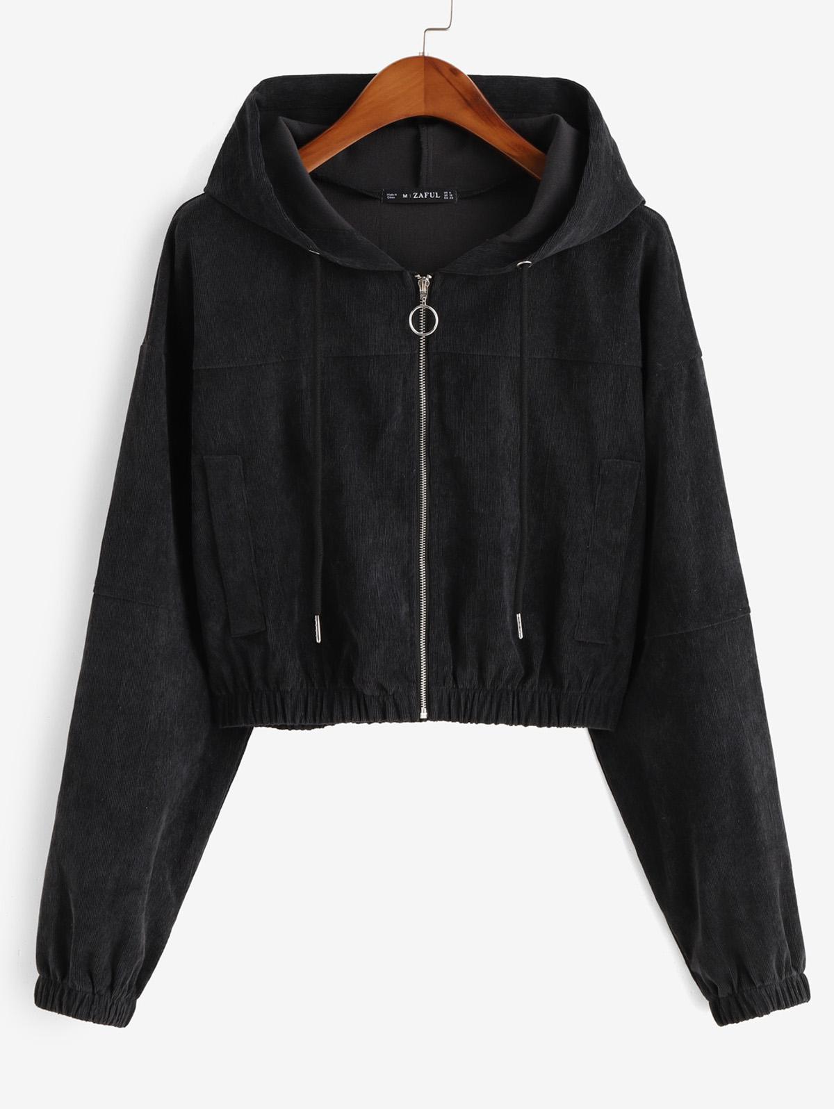 Faux Pockets Corduroy Crop Hooded Jacket