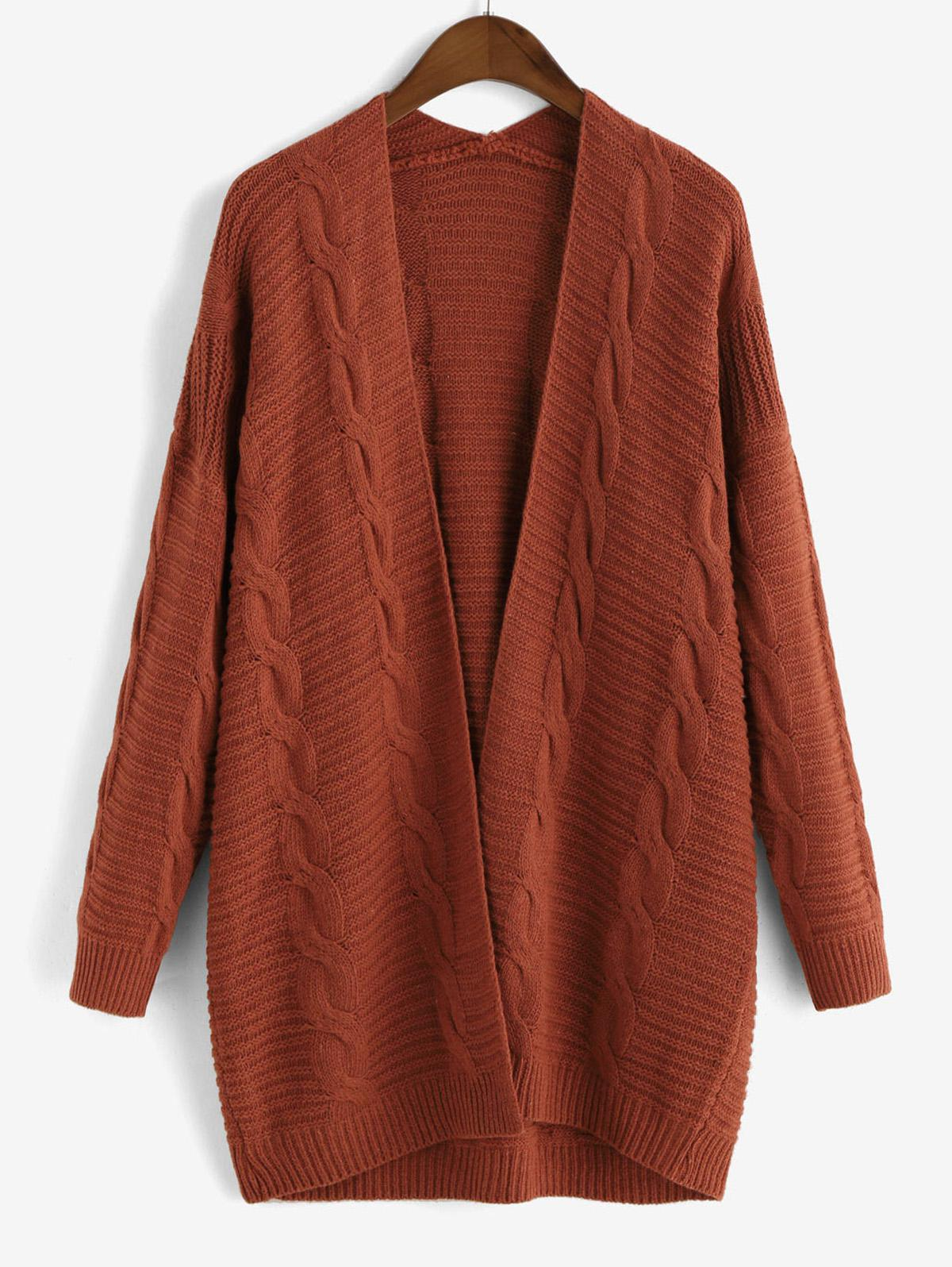 Cable Knit Open Front Chunky Cardigan