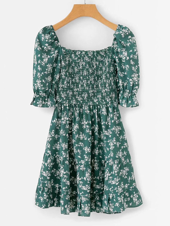 Empire Waist Floral Print Smocked Dress