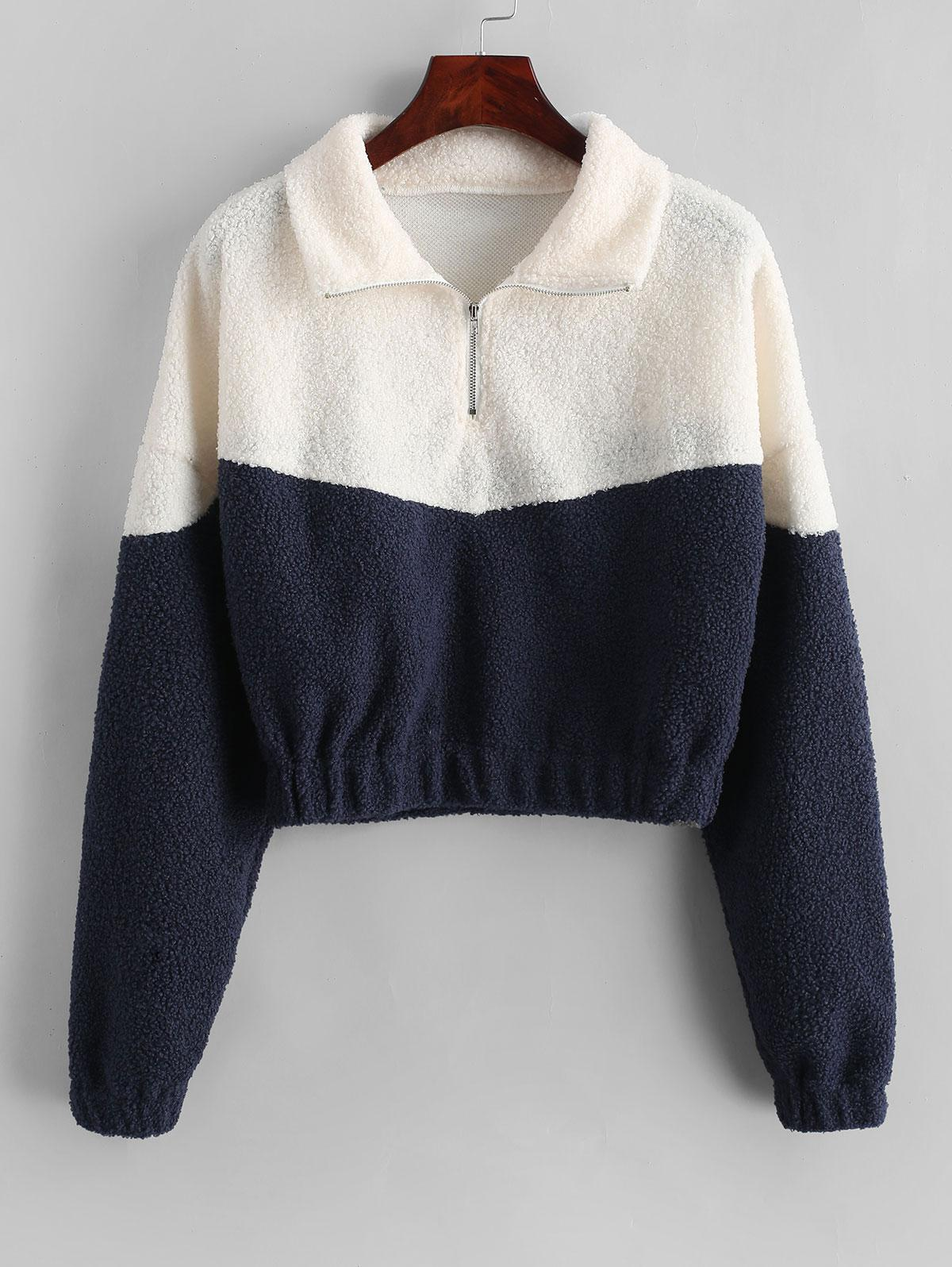 Two Tone Half Zip Teddy Sweatshirt, Dark slate blue