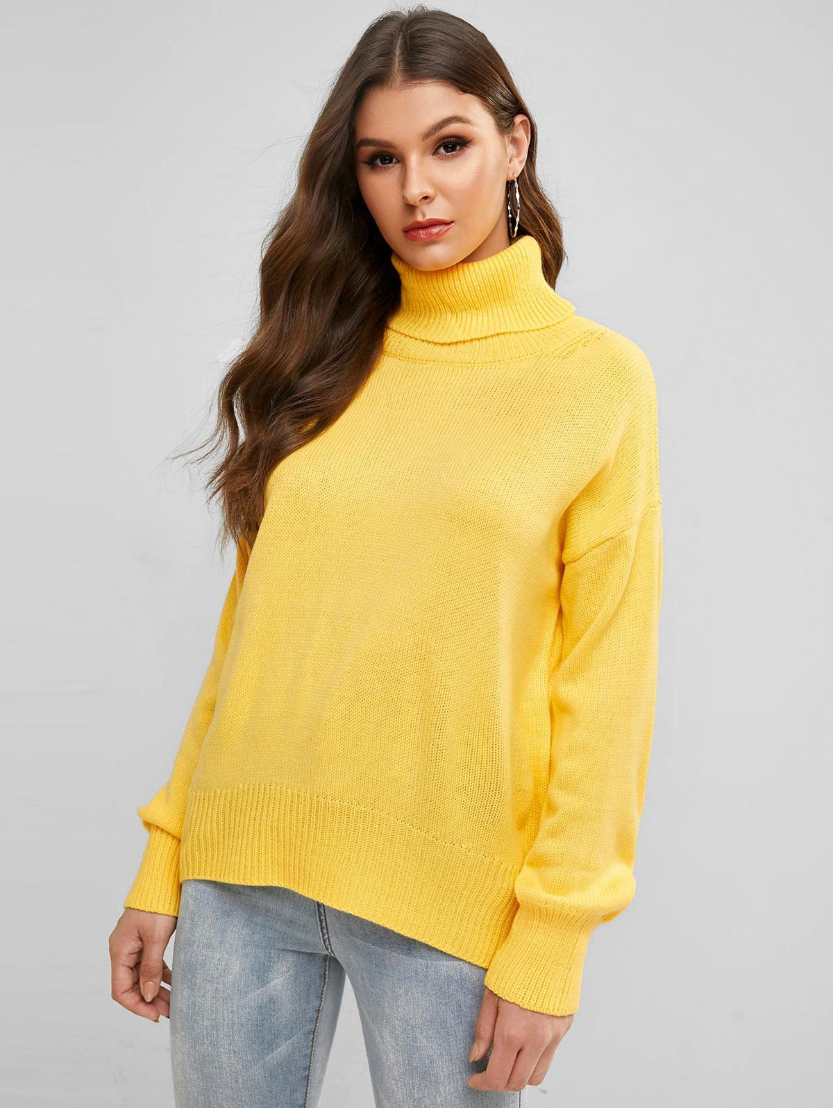 Turtleneck Plain Drop Shoulder Sweater