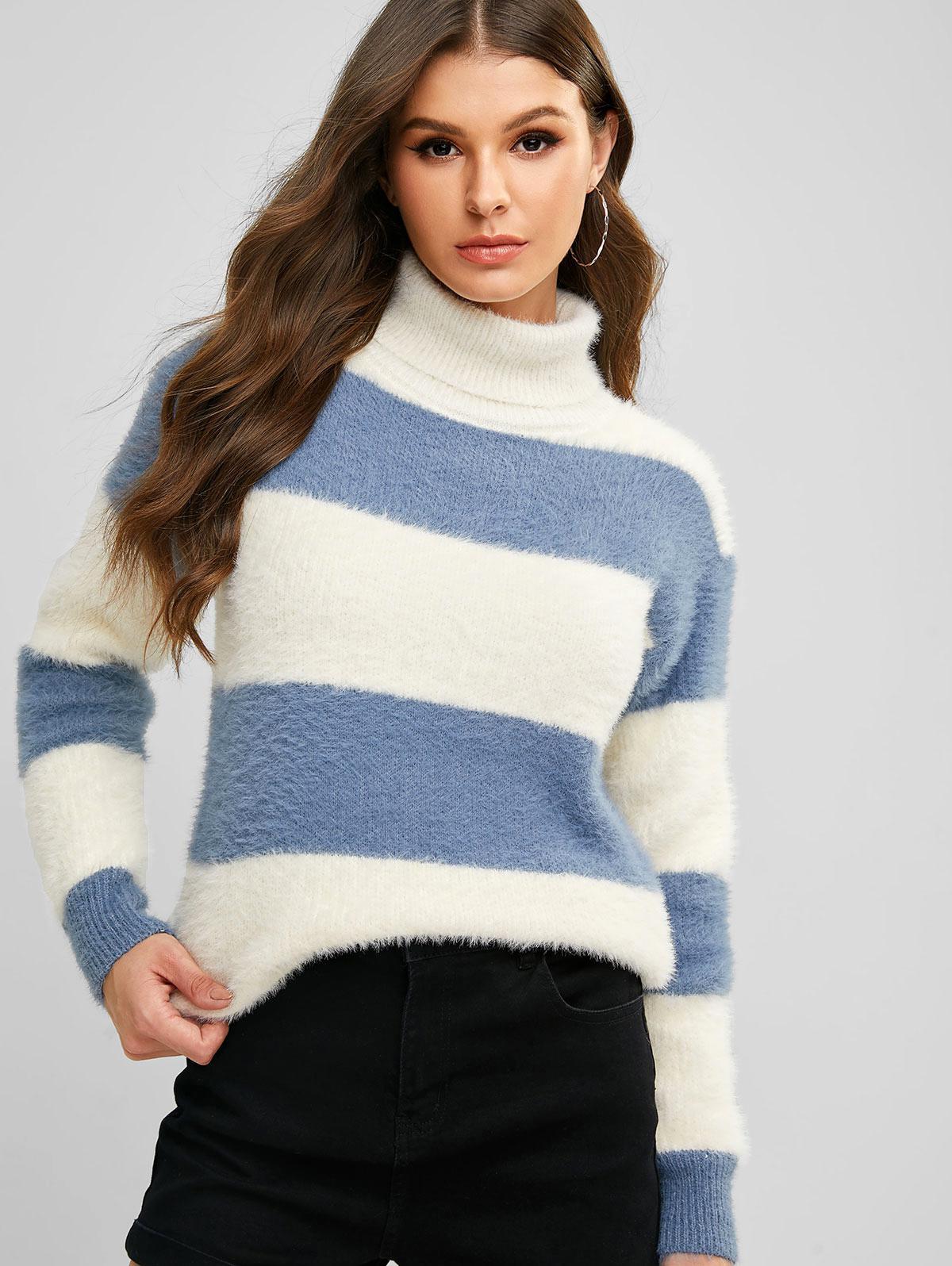 Turtleneck Colorblock Drop Shoulder Fuzzy Sweater