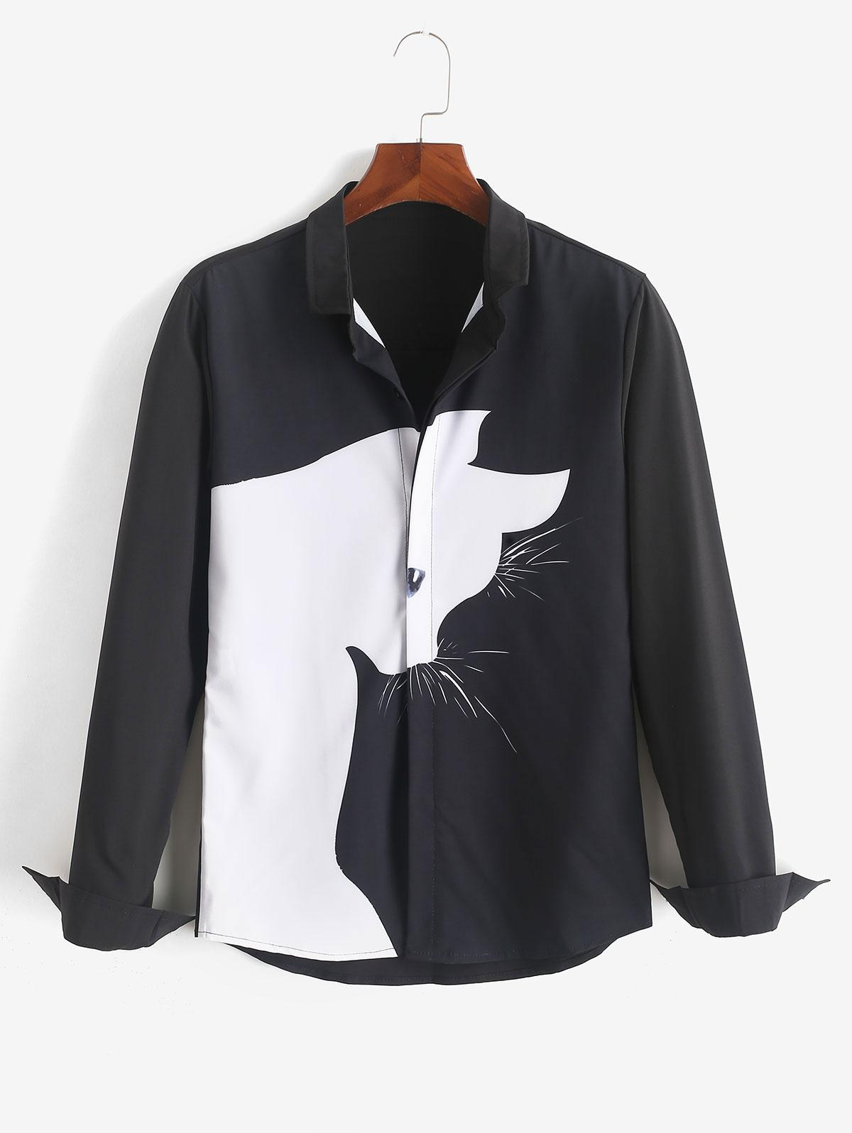 20 Off 2020 Cartoon Cat Print Button Up Casual Shirt In Black Zaful
