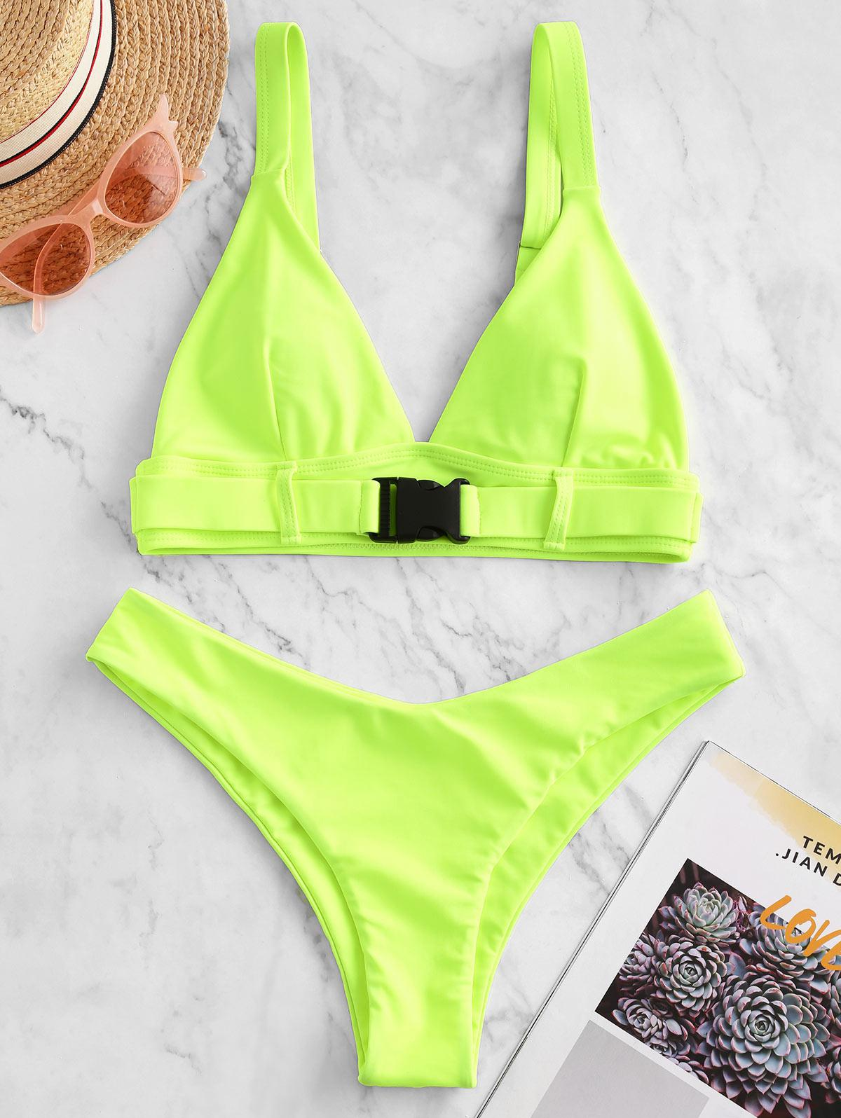 ZAFUL Push Buckle High Leg Plunging Bikini Swimsuit, Chartreuse