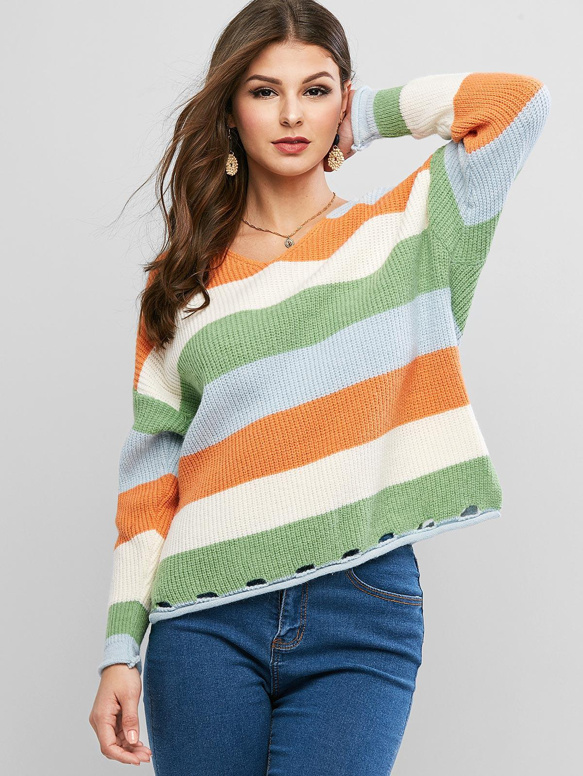 Colorblock V Neck Slit Hollow Out Sweater