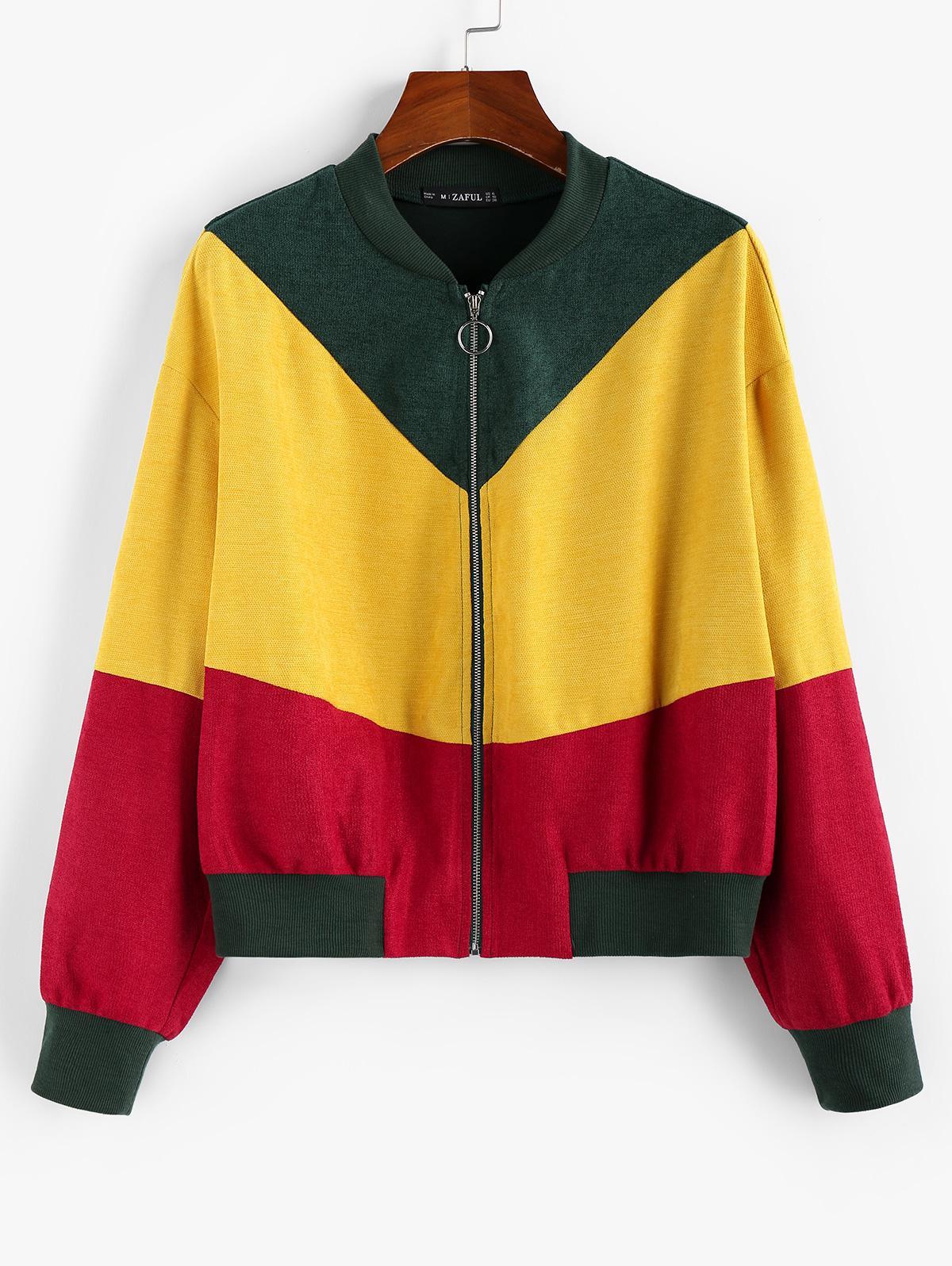 ZAFUL Colorblock O-ring Bomber Jacket