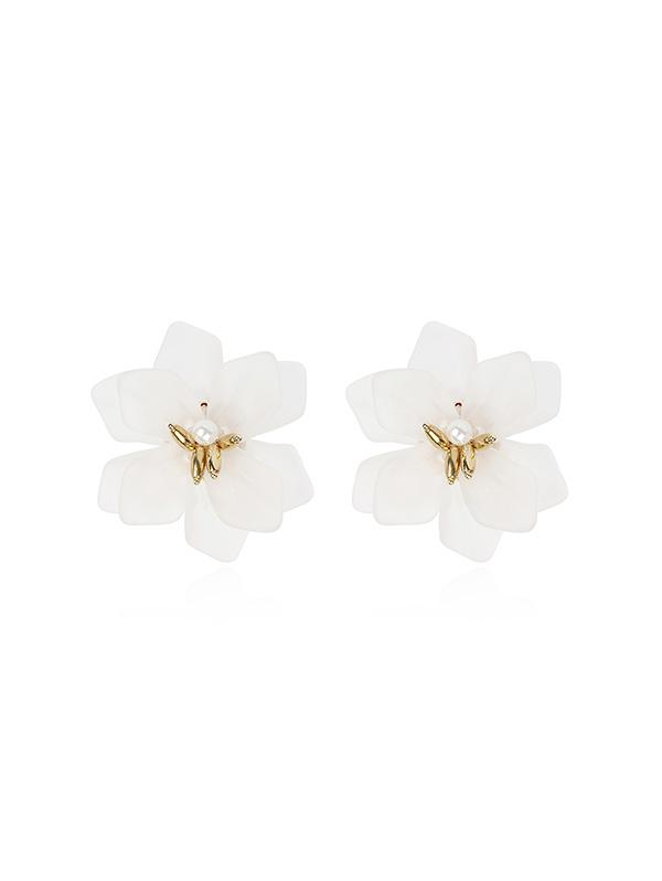 Resin Floral Stud Earrings, White