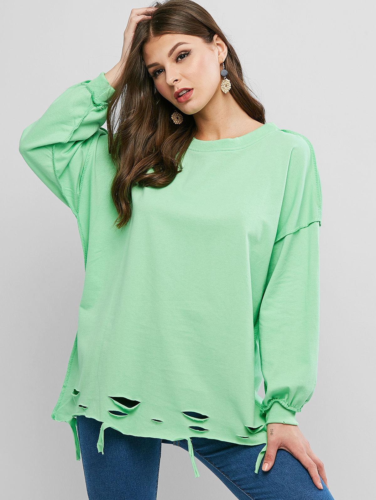 Ripped Drop Shoulder Oversized Raw Cut Tunic Sweatshirt