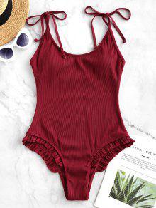 ZAFUL التعادل مزركش مضلع من قطعة واحدة ملابس السباحة - الحمم الحمراء S