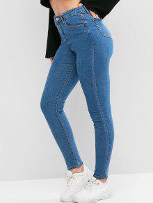 جيوب الصلبة نحيل الجينز - جينز ازرق S