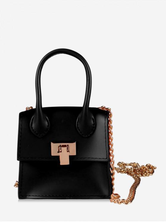 lady Hasp Square Solid Chain Design Shoulder Bag - BLACK