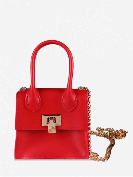 Hasp จัตุรัสโซลิดสโซ่กระเป๋าออกแบบไหล่ - ลาวาสีแดง