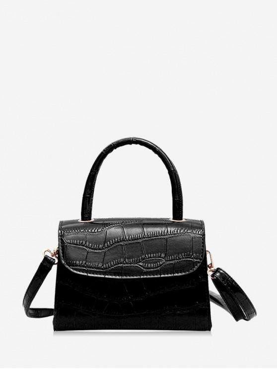 best Leather Square Simple Solid Crossbody Bag - BLACK