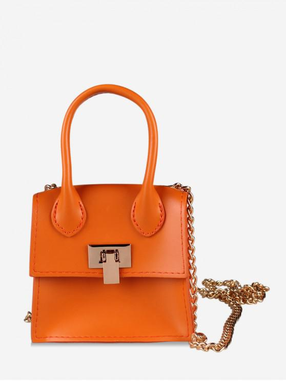 outfits Hasp Square Solid Chain Design Shoulder Bag - DARK ORANGE