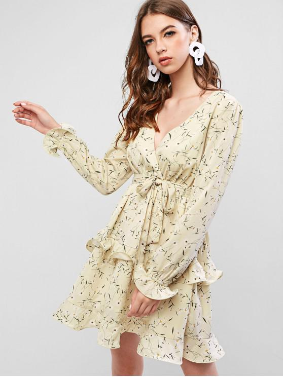 outfit ZAFUL Frilled Tiny Floral Mini Surplice Dress - BEIGE L
