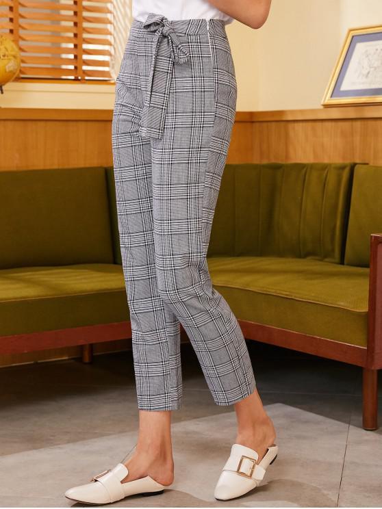 chic ZAFUL Side Zipper Knotted Plaid Straight Pants - BLACK XL