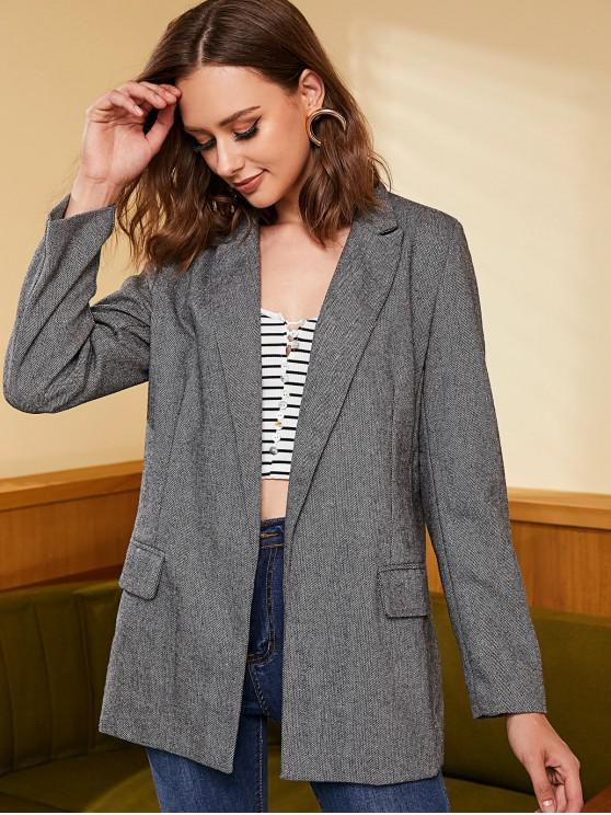 outfits Tweed Open Front Longline Blazer - GRAY XL