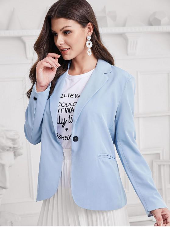 hot One Button Lapel Plain Blazer - BLUE M
