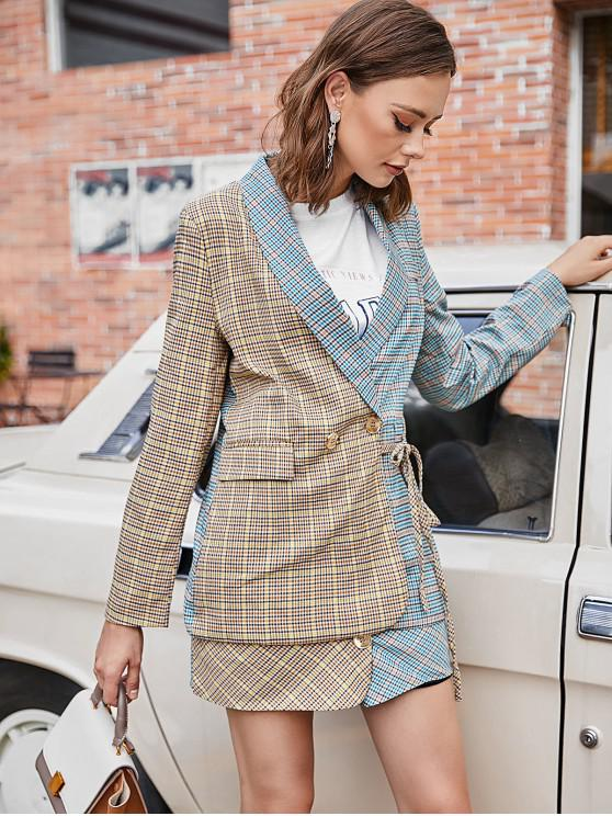 outfit Plaid Color Block Pocket Longline Blazer - MULTI-A M