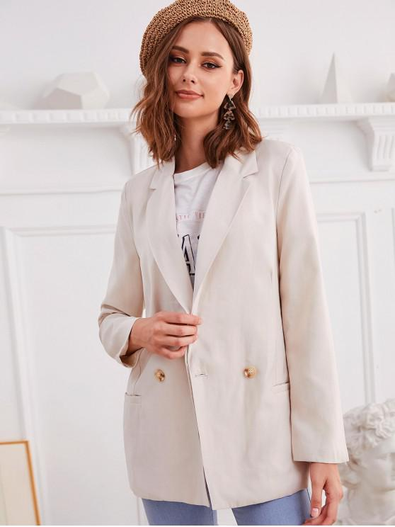 trendy Lapel Longline Plain Blazer - WARM WHITE XL