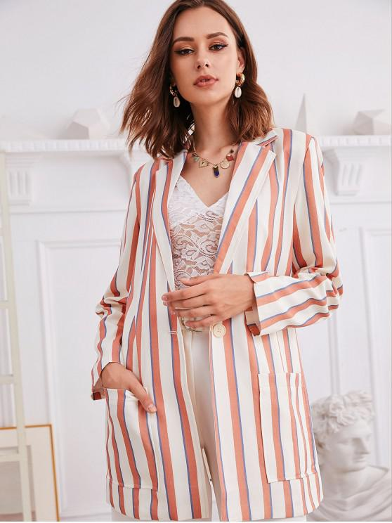 latest Striped Pocket Longline Blazer - MULTI-A L