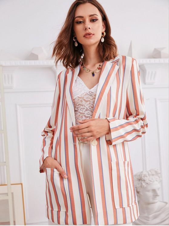 lady Striped Pocket Longline Blazer - MULTI-A XL