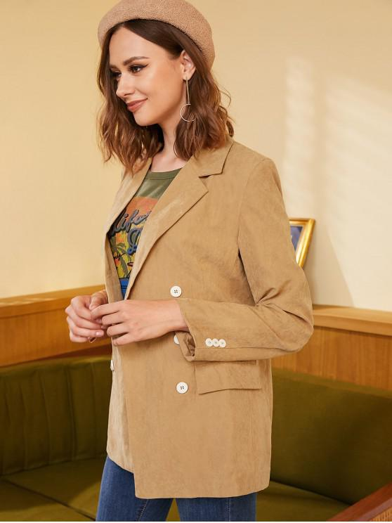 women Double Breasted Lapel Longline Blazer - CAMEL BROWN S