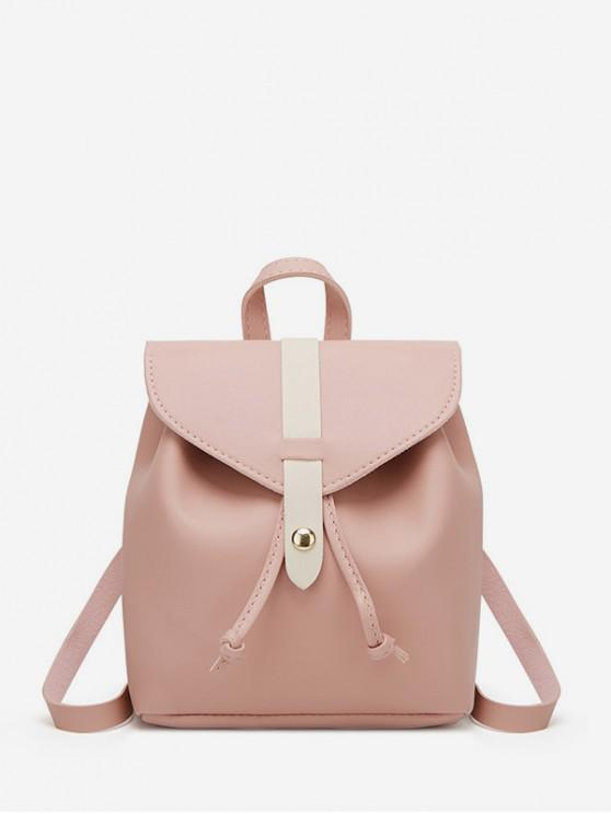 lady String Portable Leather Mini Backpack - ROSE