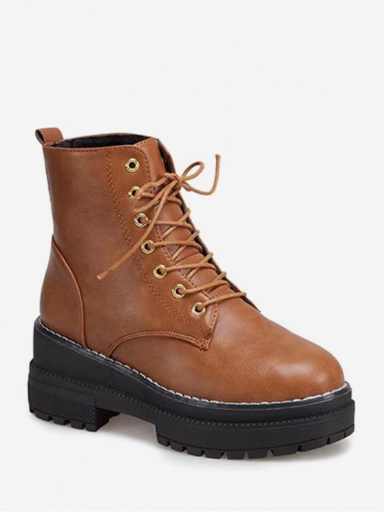 ลูกไม้แพลตฟอร์มก้อนส้นรองเท้าข้อเท้า - สีน้ำตาลอ่อน สหภาพยุโรป 38