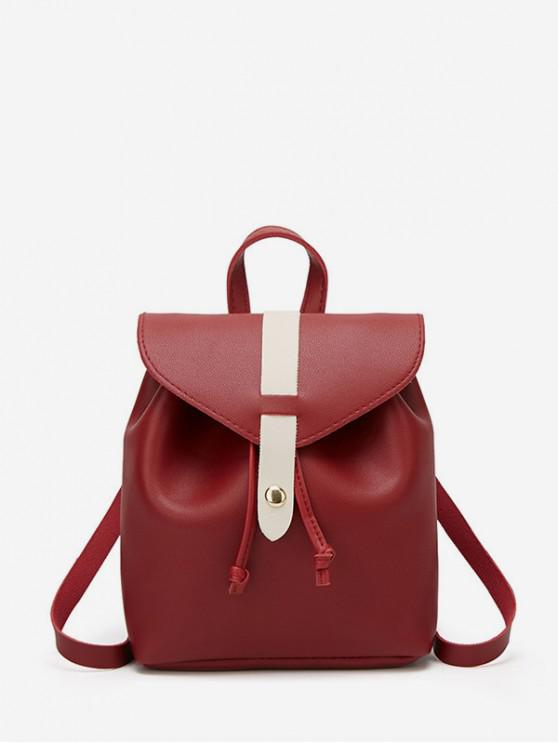 trendy String Portable Leather Mini Backpack - RED WINE