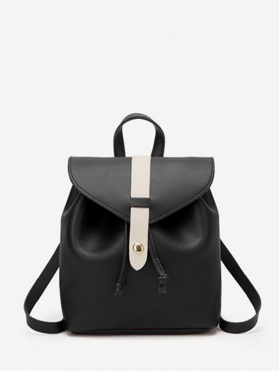 fashion String Portable Leather Mini Backpack - BLACK
