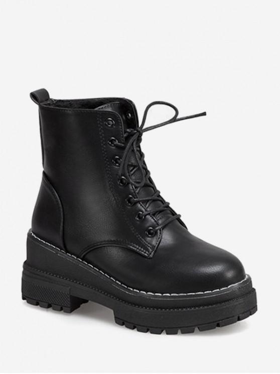 women's Lace Up Platform Chunky Heel Ankle Boots - BLACK EU 37