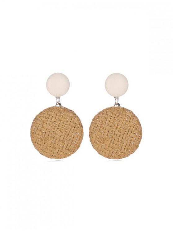 best Bohemian Button Straw Round Earrings - BURLYWOOD