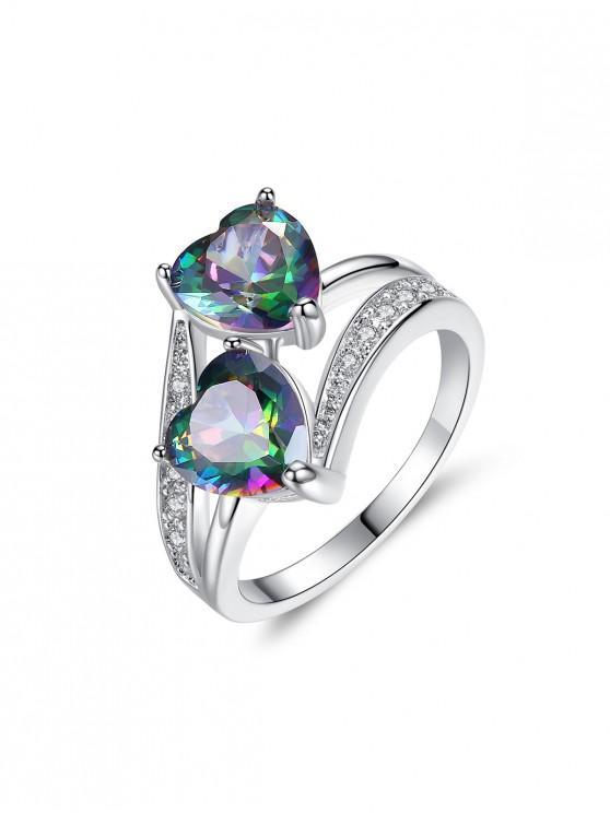 shop Double Heart Shape Zircon Ring - SILVER US 5