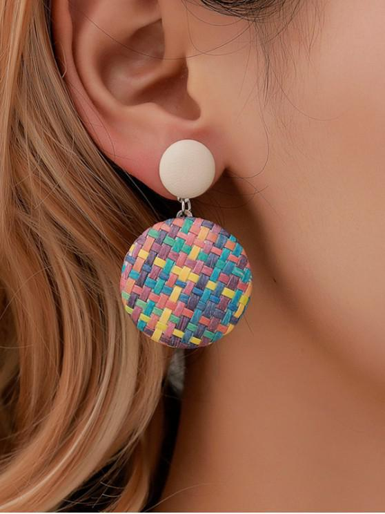 fashion Bohemian Button Straw Round Earrings - ACU CAMOUFLAGE
