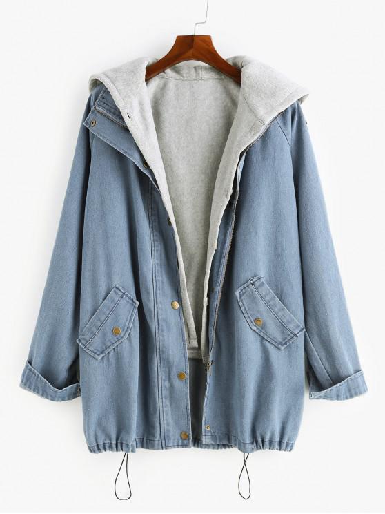 fashion Two Pieces Zip Up Casual Denim Jacket - DENIM BLUE M