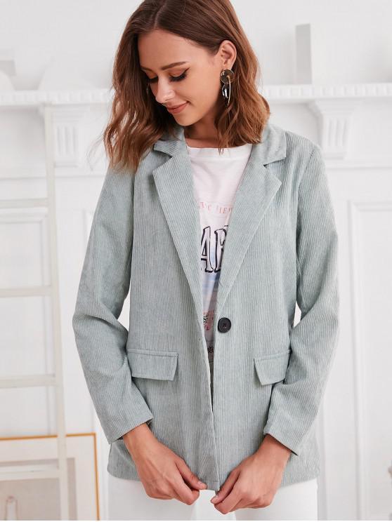 lady ZAFUL Faux Pockets One Buttoned Corduroy Blazer - GREEN S