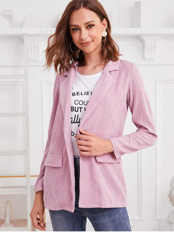 women ZAFUL Faux Pockets One Buttoned Corduroy Blazer - PINK XL