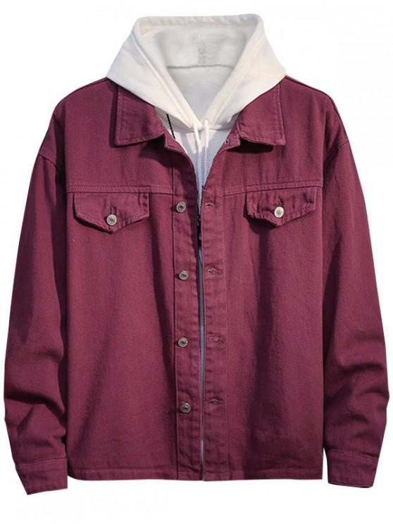 sale Casual Solid Color Button Up Denim Jacket - RED 2XL