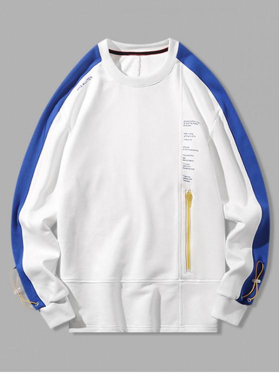 womens Contrast Trim Spliced Letter Print Zipper Pocket Sweatshirt - WHITE M