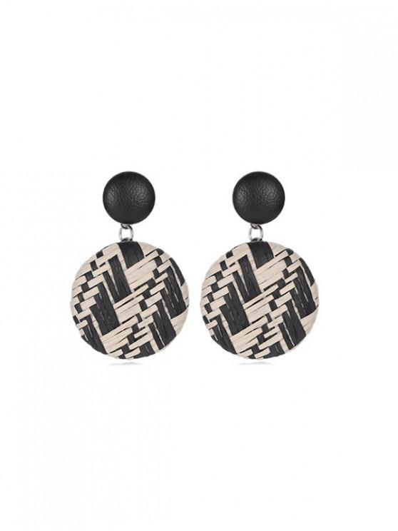 best Bohemian Button Straw Round Earrings - BLACK