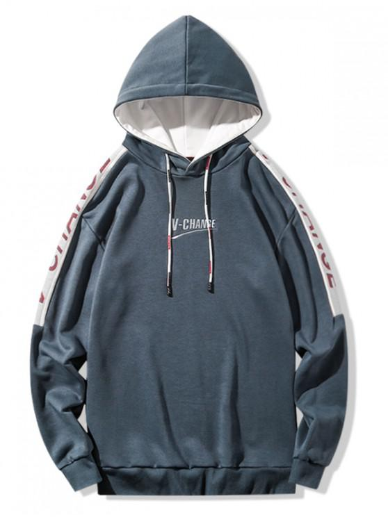 lady Letter Graphic Colorblock Spliced Drawstring Hoodie - SLATE GRAY XL