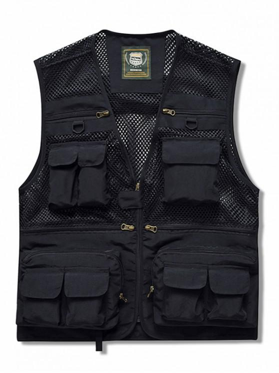 womens Zip Up Multi Pockets Mesh Cargo Vest - BLACK 3XL