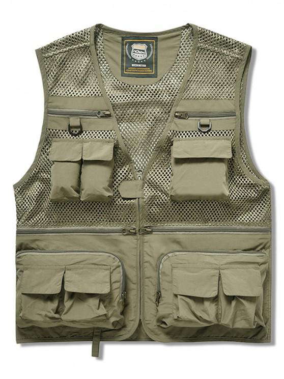 outfit Zip Up Multi Pockets Mesh Cargo Vest - KHAKI XL