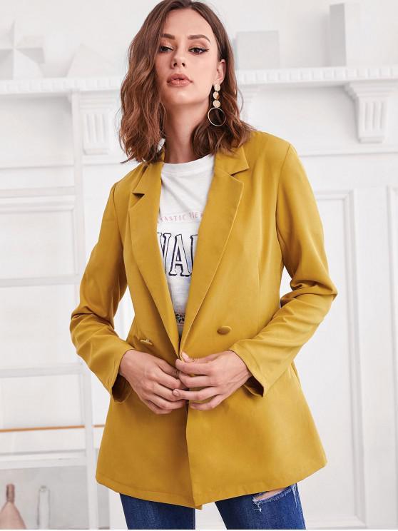 fashion ZAFUL Double Breasted Lapel Longline Blazer - GOLDEN BROWN S