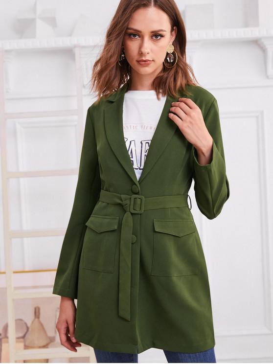 shop ZAFUL Belted Button Up Flap Pockets Blazer - GREEN S