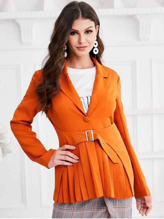 fashion ZAFUL Buckle One Buttoned Pleated Skirted Blazer - CARAMEL L