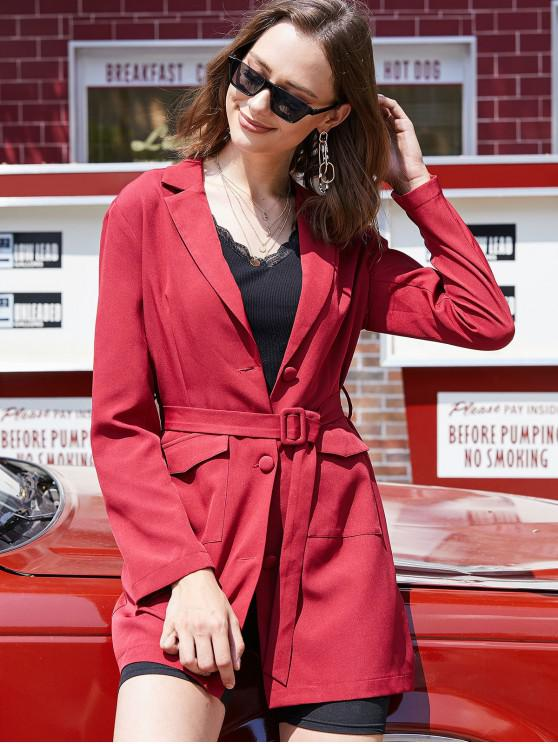 women ZAFUL Belted Button Up Flap Pockets Blazer - RED M