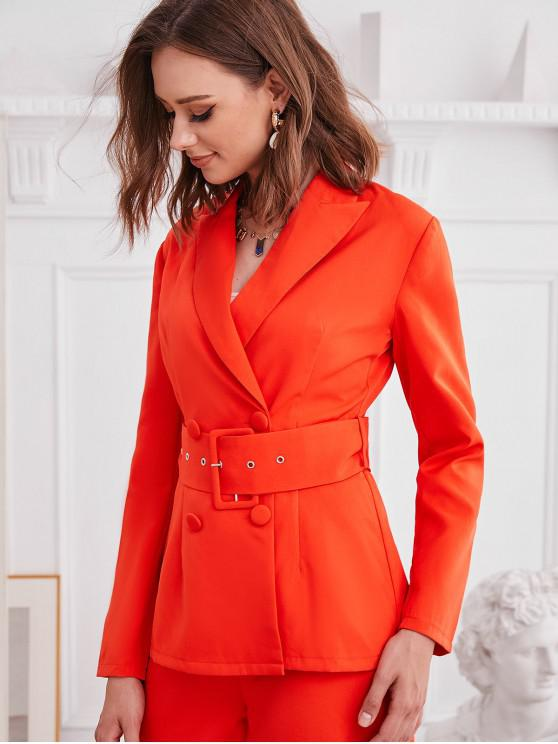 chic ZAFUL Plain Double Breasted Buckle Belted Blazer - ORANGE S