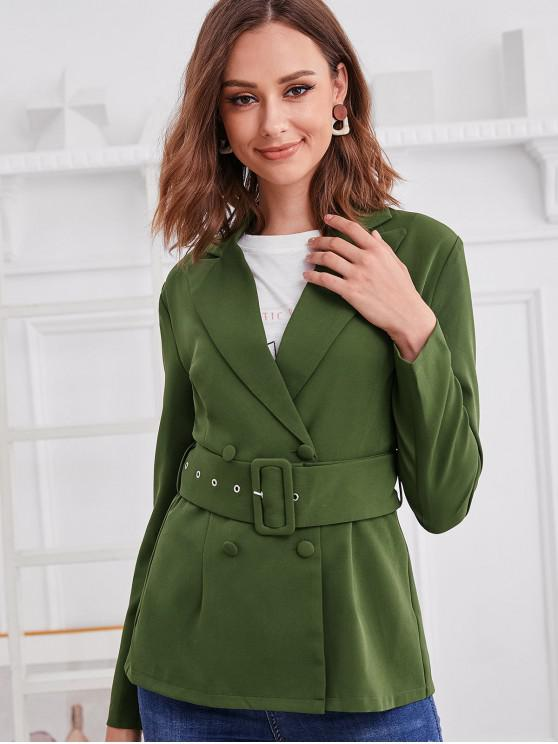 affordable ZAFUL Plain Double Breasted Buckle Belted Blazer - GREEN L